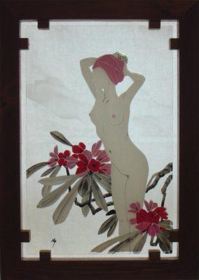 フュージング画「石楠花」