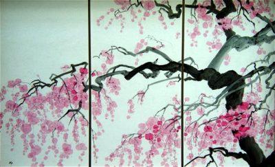 フュージング画「老桜」