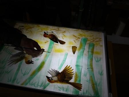 竹の輪郭を描く