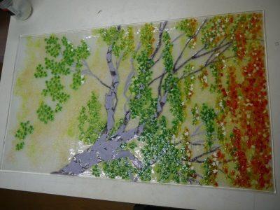 移りゆく紅葉のフュージング画