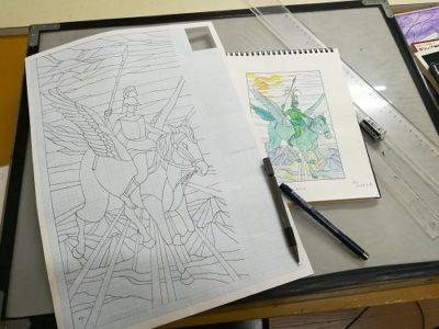 ペガサスに乗る英雄ベレロポーンの絵を、型紙にデザインしています