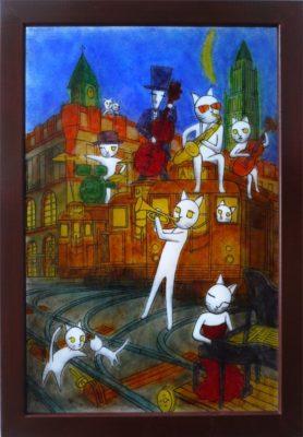 わるのり猫シリーズ・フュージング画「月夜の操車場」