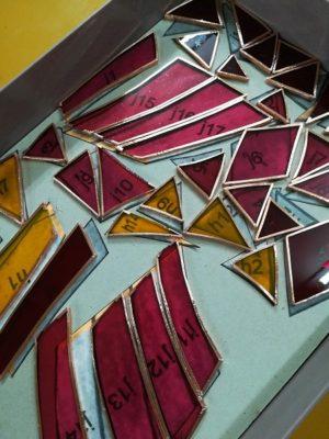 各ピースの切断面に銅テープを巻きました