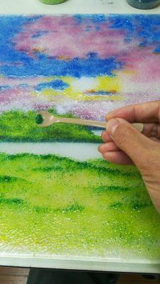 牛久沼の風景をフュージング画で描いています