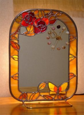 ステンドグラス製「バラのミラー時計」