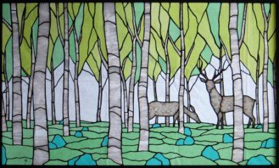 自然のステンドグラス「白鹿」