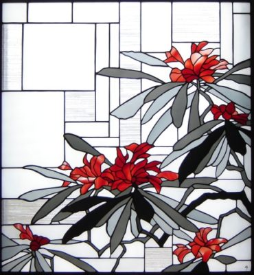 和風ステンドグラス「石楠花」