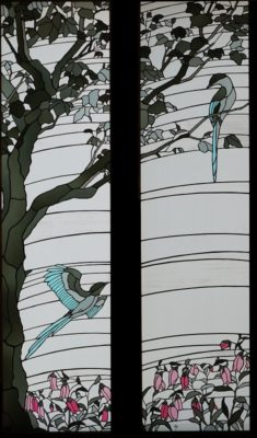 ステンドグラス「オナガ」