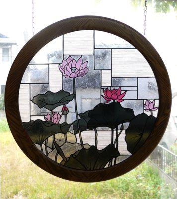 円形和風ステンドグラス「蓮」