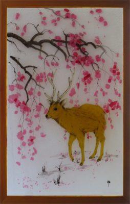 フュージング画「鹿」