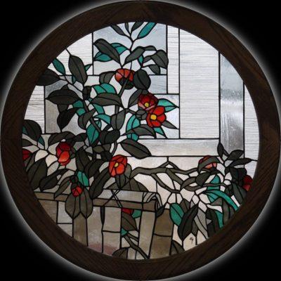 円形和風ステンドグラス「ヤブツバキ」