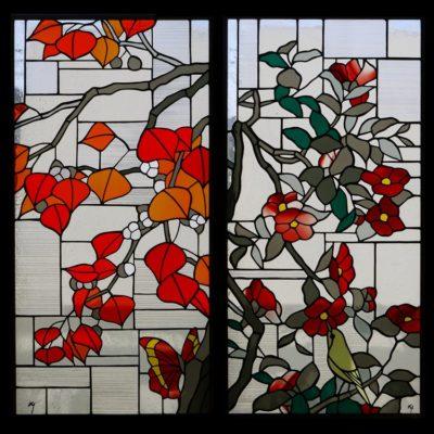和風ステンドグラス「ナンキンハゼ」「椿とメジロ」
