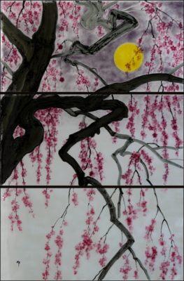 枝垂れ桜のオーダーメイド・フュージング画「夜桜」