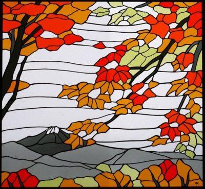 オーダーメイドの和風ステンドグラス「紅葉」