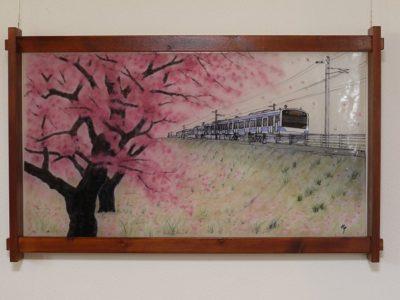 無鉛ステンドグラス(フュージング画)「常磐線」