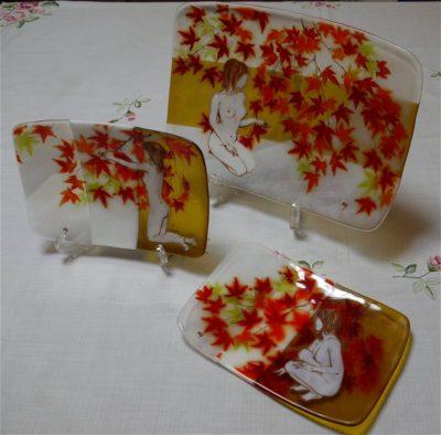 フュージング画絵皿「紅葉」