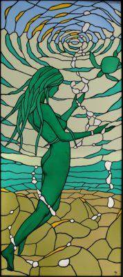 裸婦をモチーフにしたオーダーメイドステンドグラス「海神」