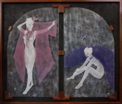 白ガラスのパウダーを使ったフュージング画「天女」
