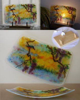 フュージング画絵皿「藤」