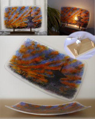 フュージング画絵皿「夕映え」モデルは、龍ケ崎市来迎院の多宝塔