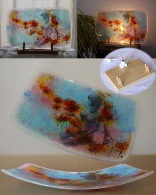 フュージング画絵皿「コスモス」