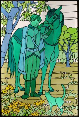 オーダーメイドステンドグラス「少年と馬と猫