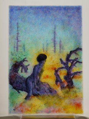 幻想的なフュージング画「沼霧」