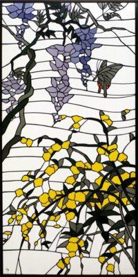 和柄が美しいオーダーメイド・ステンドグラス「藤と山吹」