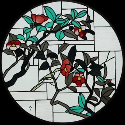 和柄のオーダーメイドステンドグラス「椿」