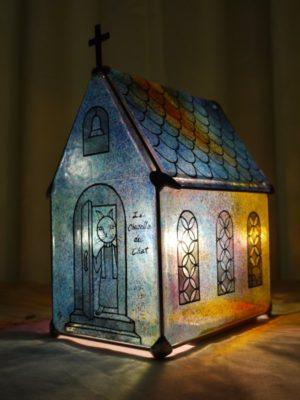 ステンドグラス家形ランプ「猫のチャペル」