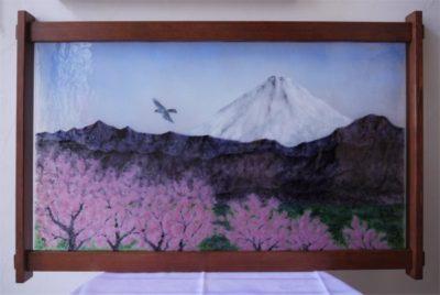 無鉛ステンドグラス(フュージング画)「桜と富士」