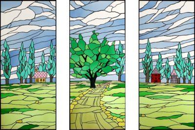 大型のオーダーメイドステンドグラス「丘の風景」
