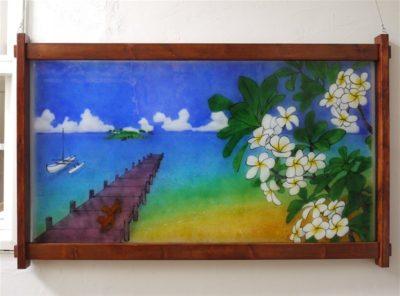 無鉛ステンドグラス(フュージング画)「空と海」