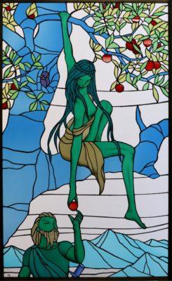 北欧神話に取材する人物ステンドグラス「イズン」