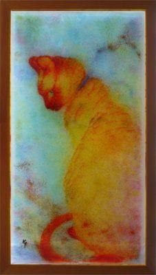大判無鉛ステンドグラス(フュージング画)「猫」
