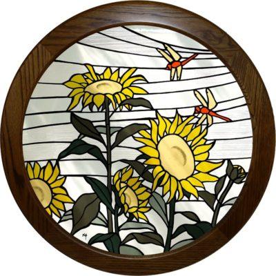 丸い木額に入った和風ステンドグラス「ヒマワリ」
