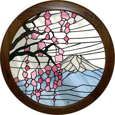丸い木額に入った和風ステンドグラス「枝垂れ桜と富士」
