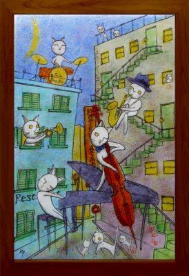 ふるさと納税返礼品のフュージング画「月夜のジャズ」