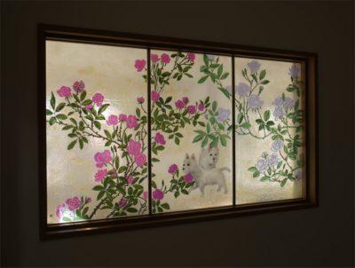 ウエスト・ハイランド・ホワイト・テリアのフュージング画「薔薇」