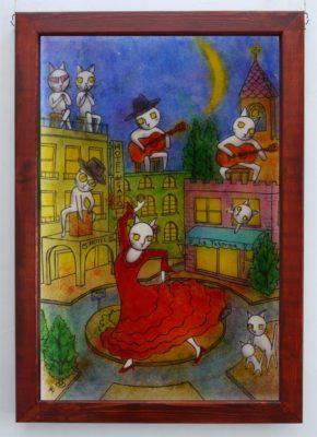 フュージング画「月夜のフラメンコ」