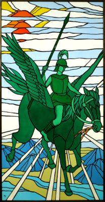 人物ステンドグラス人物ステンドグラス「ペガサスとベレロポーン(Pegasus & Bellerophon)」