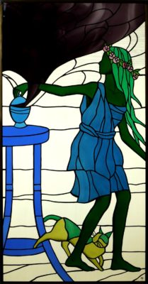 人物ステンドグラス「パンドラの壺」