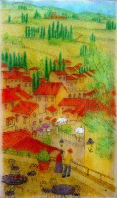 イタリアの町を描いたフュージング画「ワインの町」