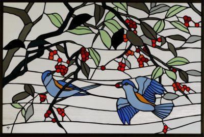 小鳥がかわいい和風ステンドグラス「ルリビタキ」