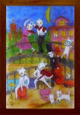 龍ケ崎市ふるさと納税返礼品フュージング画「月夜のライブ」