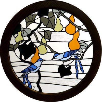 和風ステンドグラス「比翼の鳥」