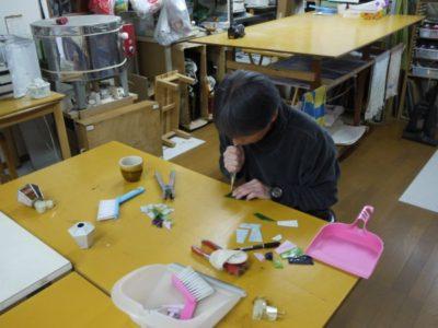 福島くん、ガラスカットに挑戦