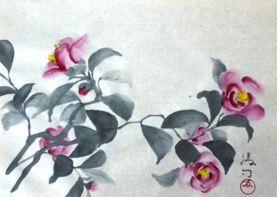 椿の水墨画