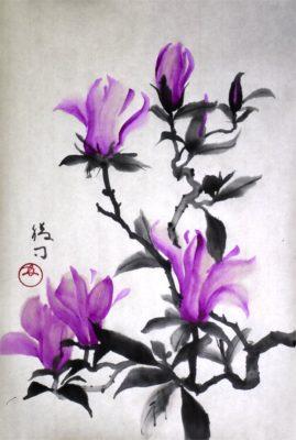木蓮の水墨画