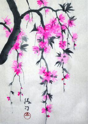 枝垂れ桃の水墨画
